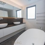 This bathroom tiling by our tilers, could readily apply to bathroom renovations.
